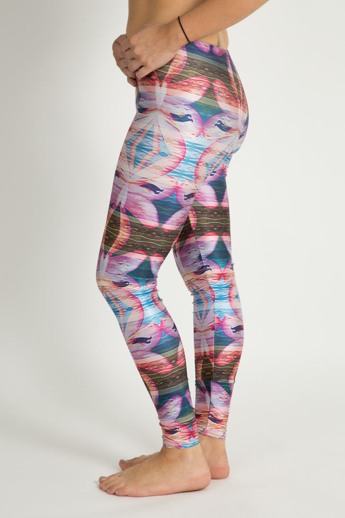 Floral stripe Leggings - Repreve® Fabric