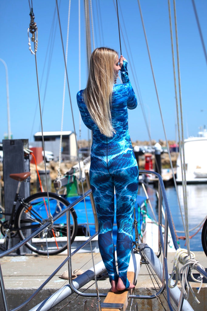 Womens - Turquoise Bay Print - Surf & Stinger Suit - Front Zip - Repreve® Fabric