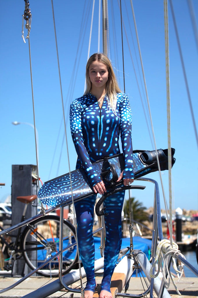 Womens - Whale shark Print - Surf & Stinger Suit - Front Zip - Repreve® Fabric
