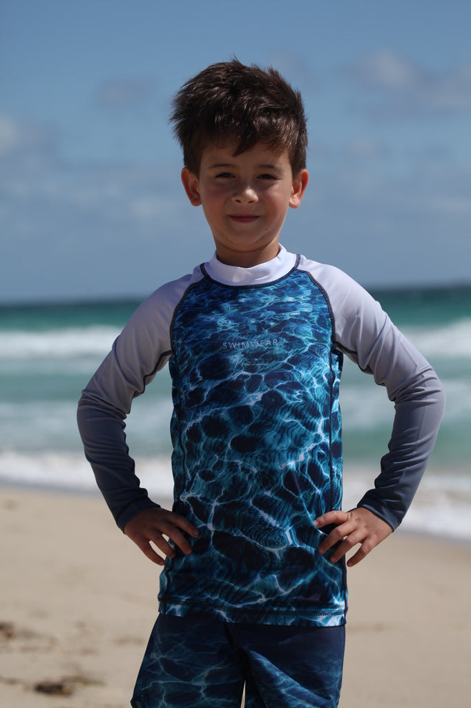 Youths - Unisex - Turquoise Bay - Long sleeve - Rash Vest - Repreve® Fabric