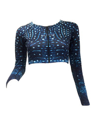 Ladies Whale Shark Print - Cropped Rash Vest - Repreve® Fabric