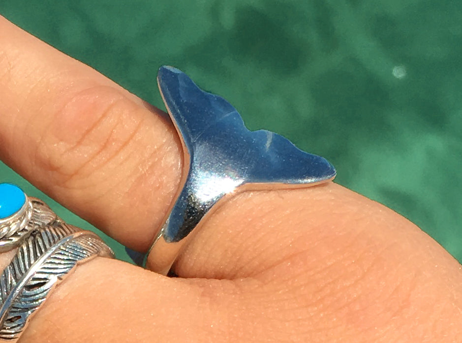 Australian made - Silver Whale Tail rings - 2 sizes - Rings Pictured not necessarily same ones sent - all unique
