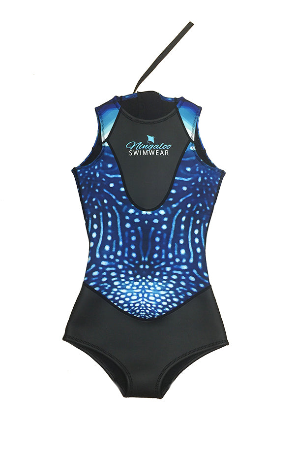 Whale Shark Print - 2mm - Back Zip - Singlet - Springsuit