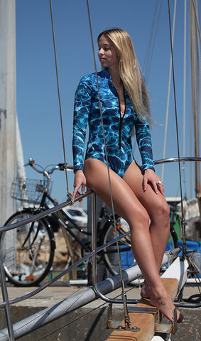 Turquoise Bay Print - Front Zip - Surf Suit - Repreve® Fabric