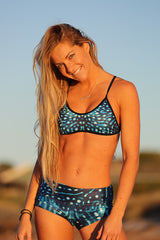 Crop Top - Whale Shark - 8mm Tan line free straps - Repreve® Fabric - Girls & ladies