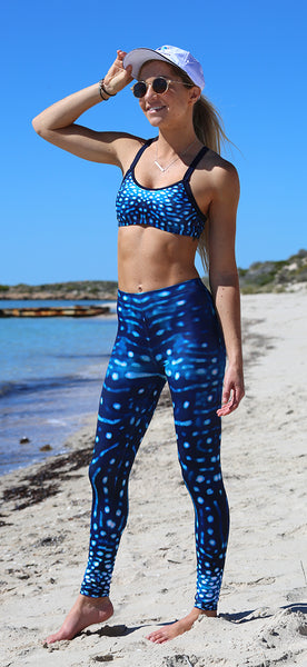 Crop Top - Whale Shark - 16mm straps - Ladies & Girls - Aust Made - Chlorine Resistant