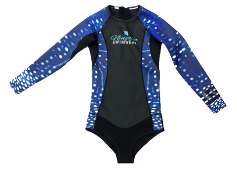 Whale Shark Print - 2mm - Long Sleeve - Back Zip - Springsuit