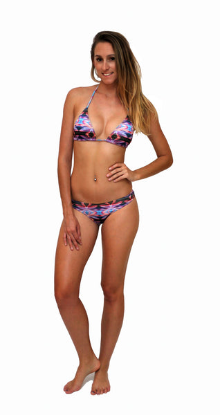 Floral Stripe - Triangle - Bikini Top