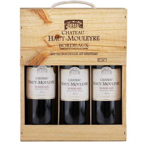 Chateau Haut Mouleyre x 3 (2010-2011-2012) in a Wooden Box