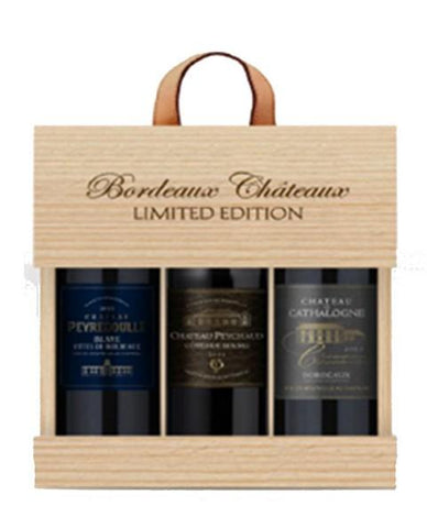 Bordeaux Selection, Cathalogne, Peyredoulle, Peychaud x 3 in a Wooden Box