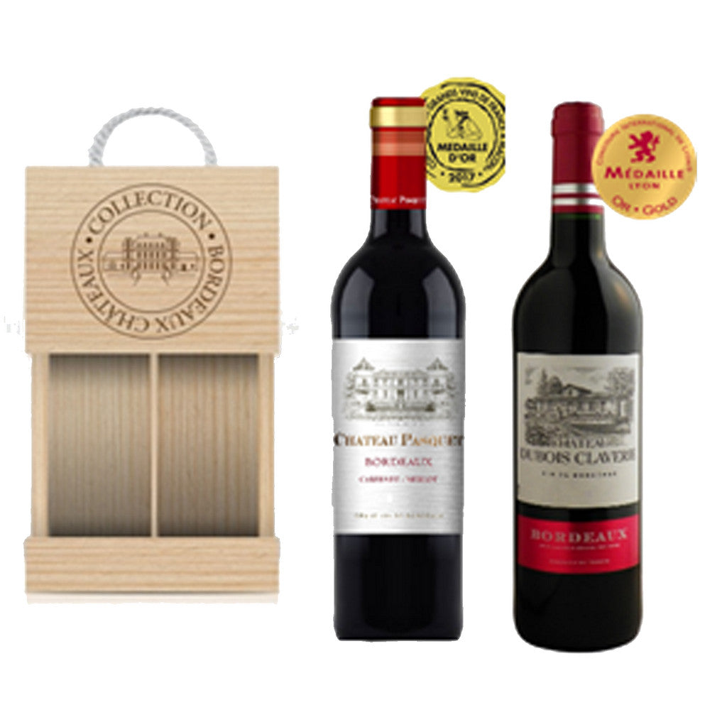 Bordeaux Selection, Pasquet & Dubois x 2 Bottle in a wooden box