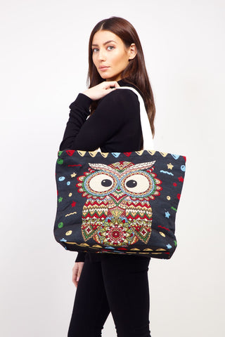 Striped Owl Shopper Bag
