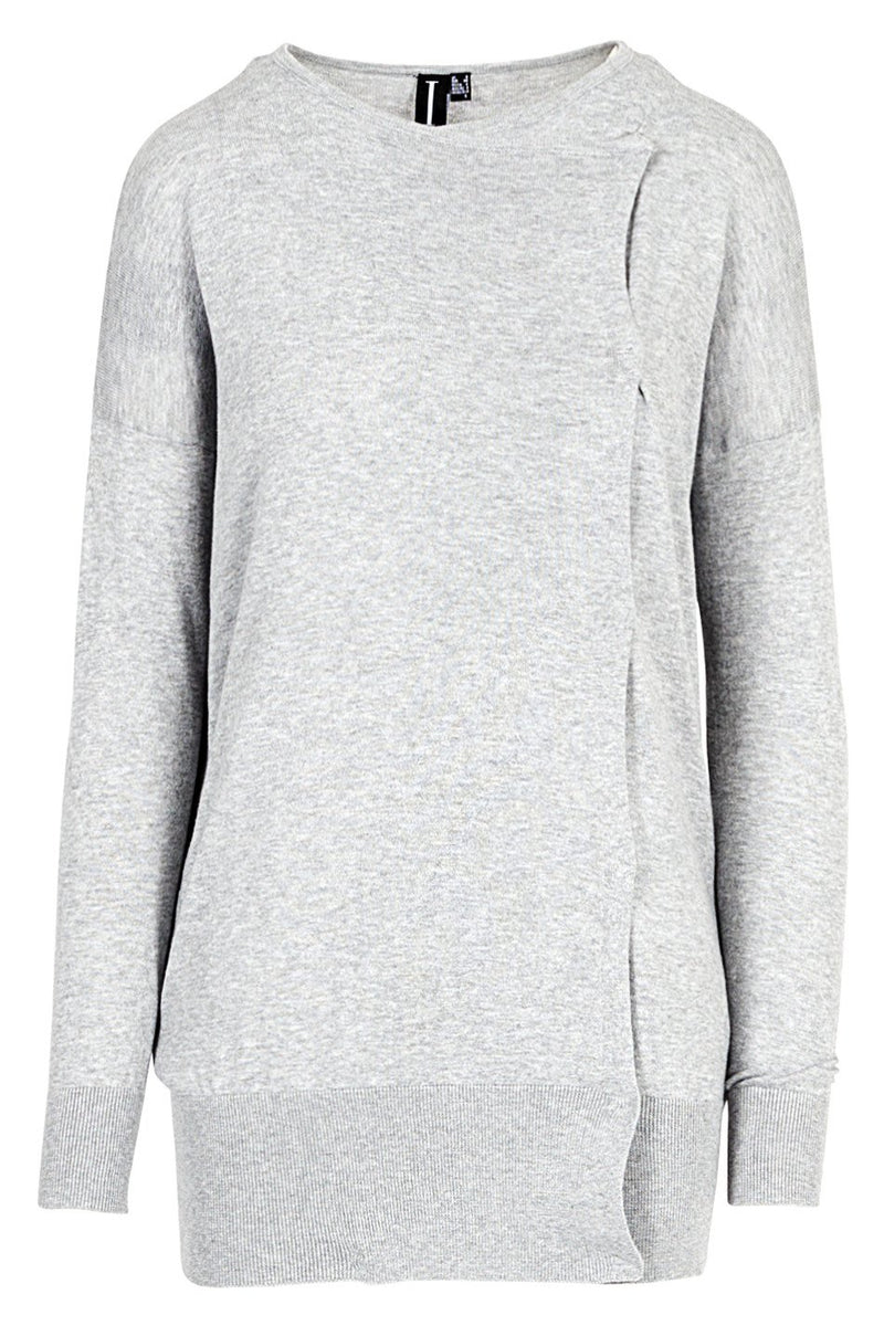 Grey | Side Detail Cuffed Jumper | Izabel London