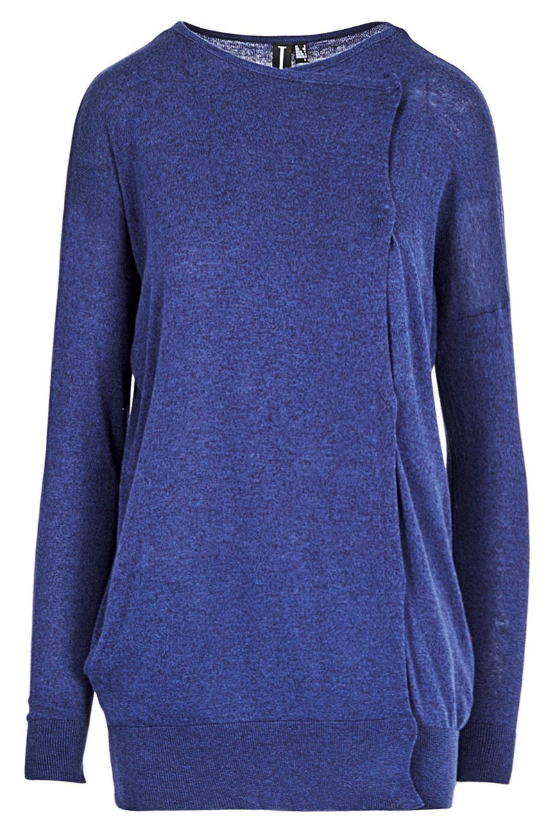 Navy | Side Detail Cuffed Jumper | Izabel London