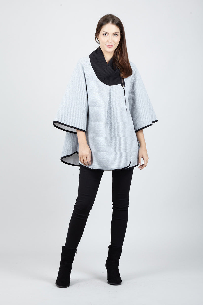 Light Grey | Roll Neck Cape Coat