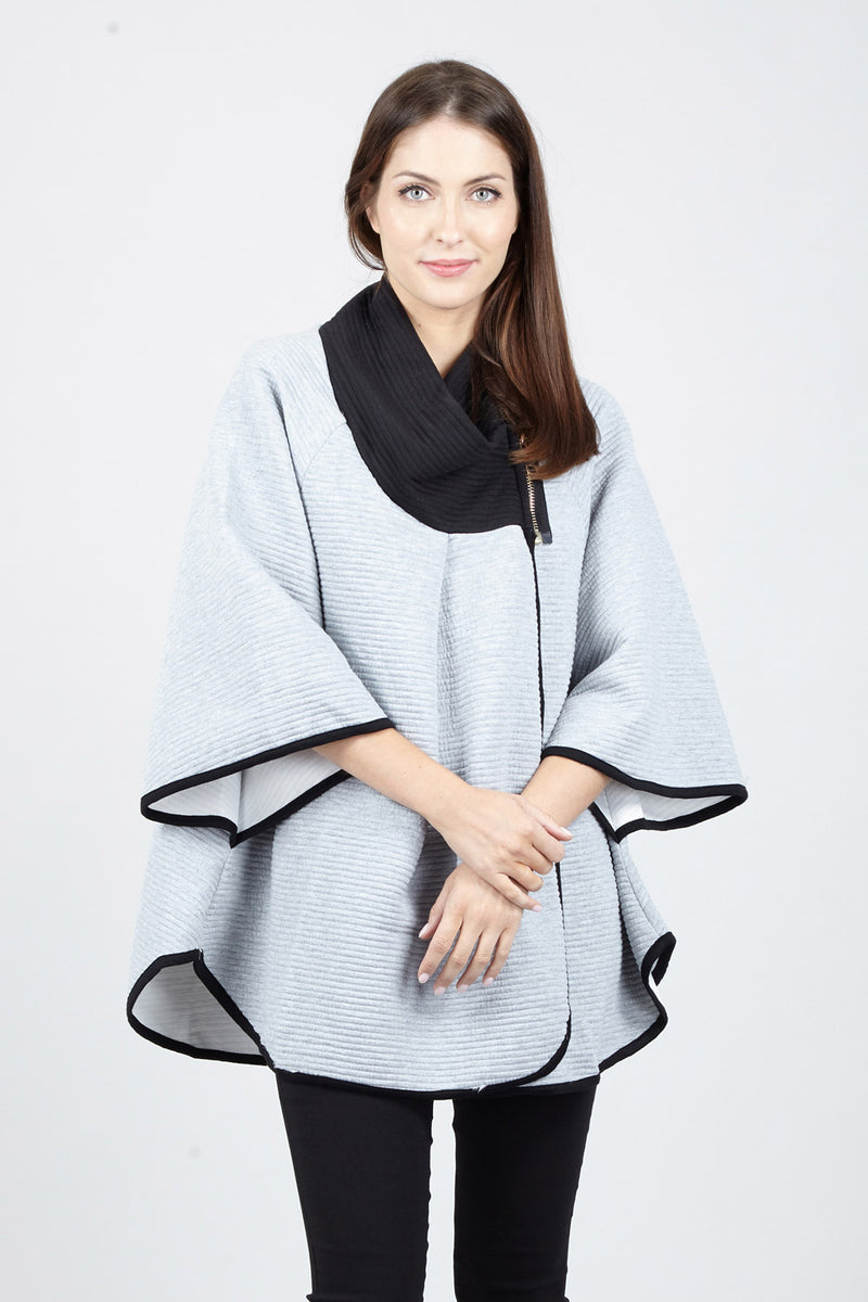 Grey | Roll Neck Cape Coat