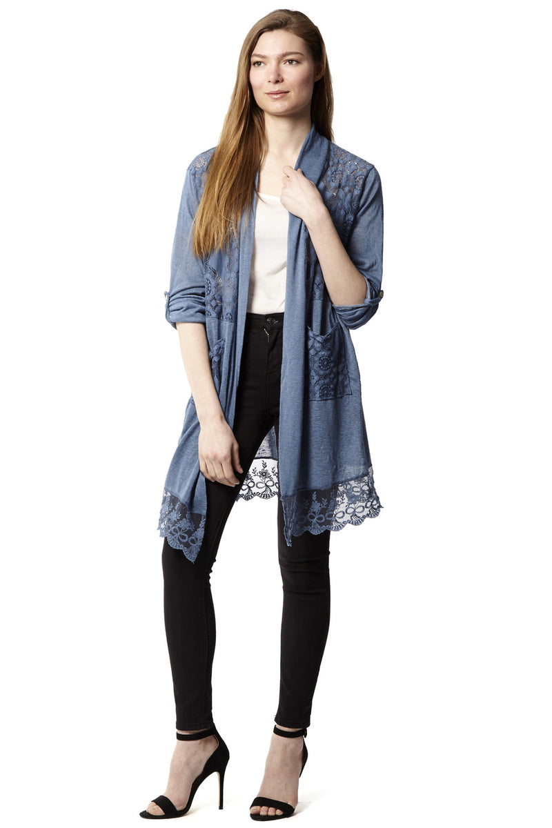 Lace Longline Cardigan - Izabel London