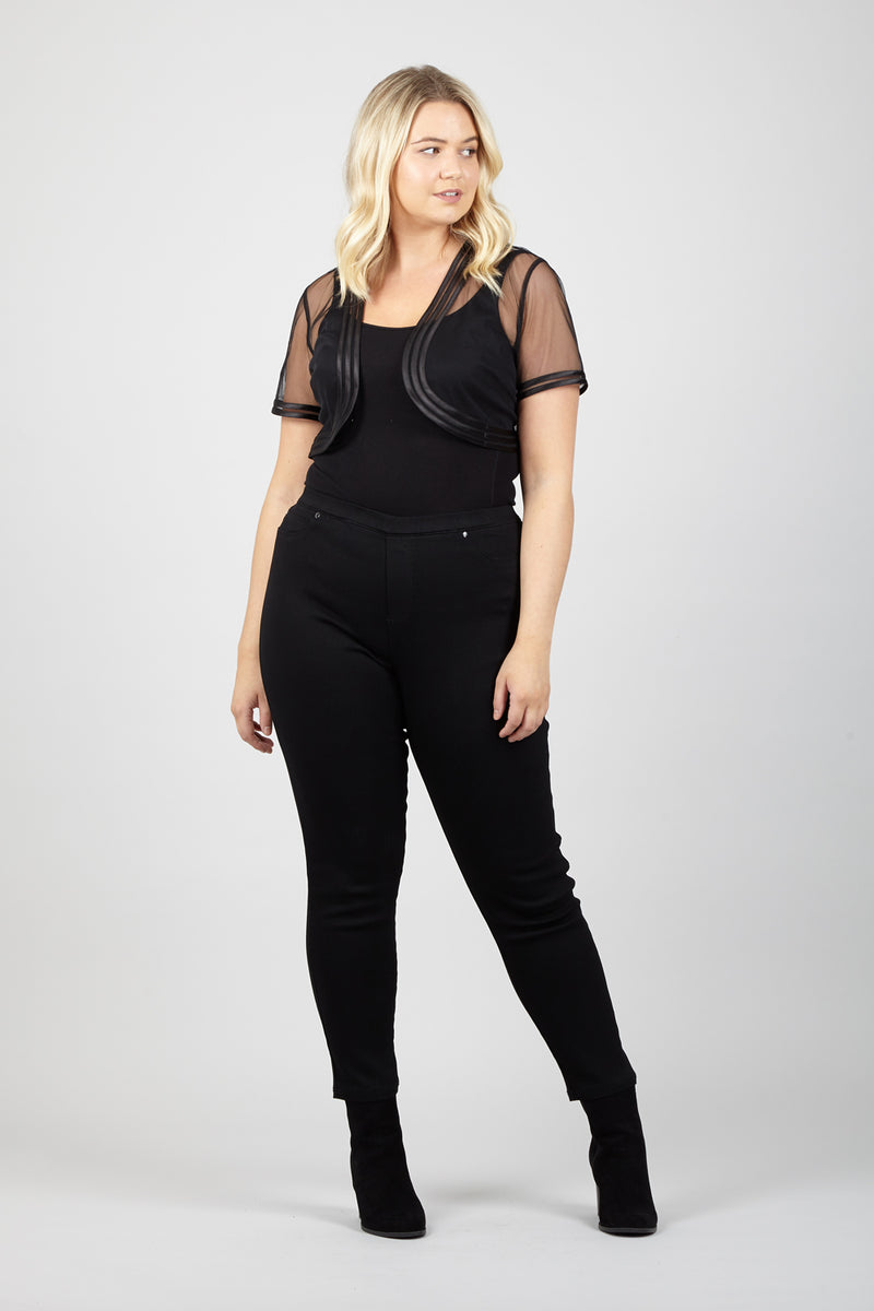 Curve Sheer Cropped Bolero - Izabel London
