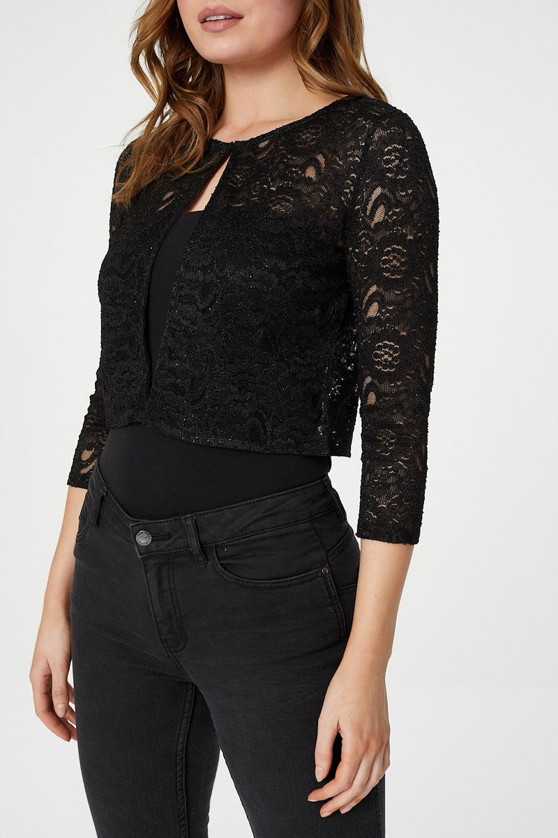 Black | Lace Cropped Bolero