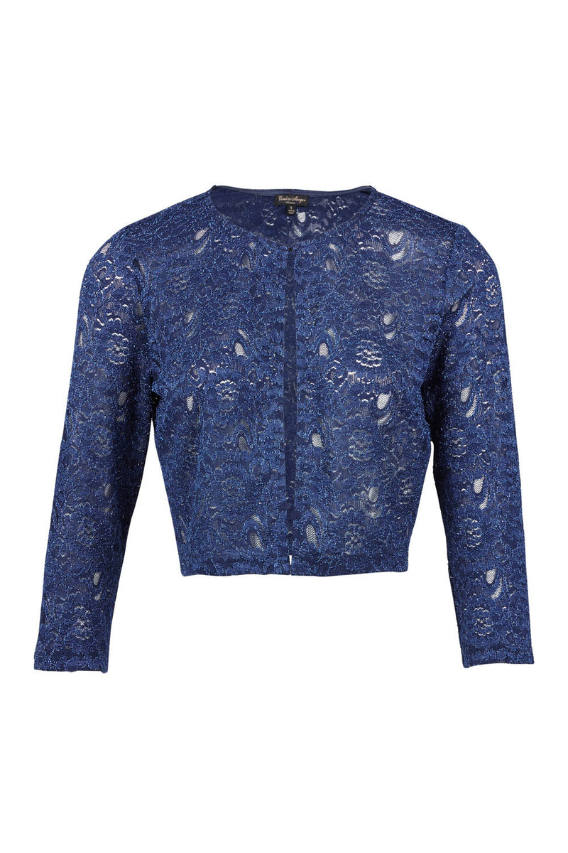 Navy | Lace Cropped Bolero
