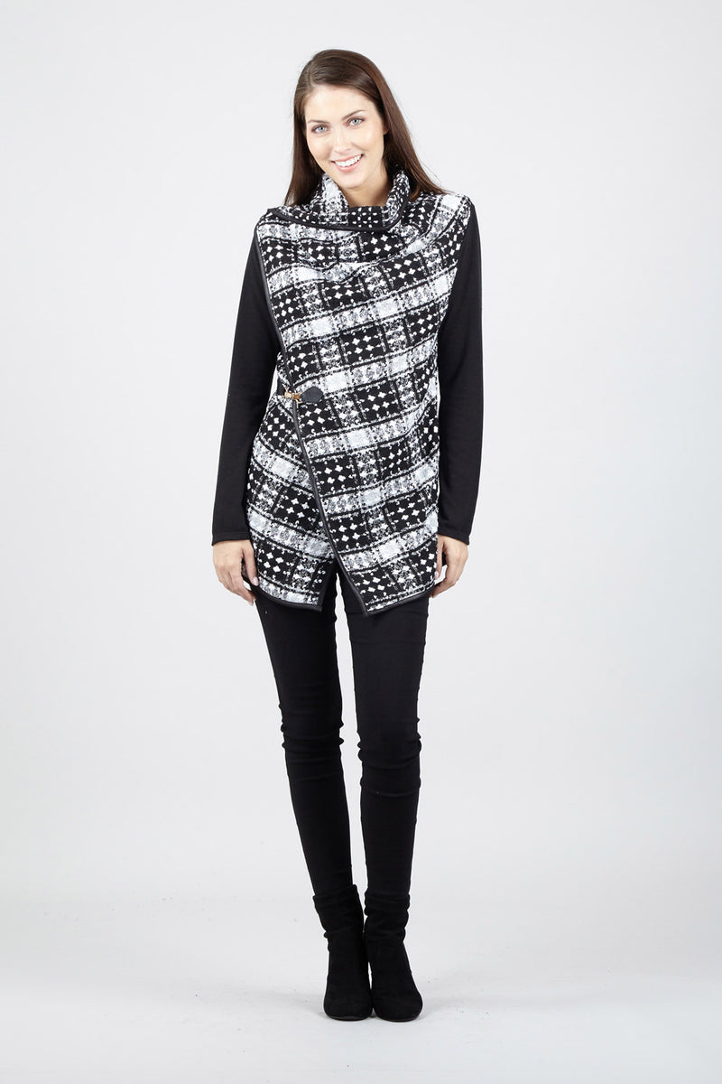 Black | Checked Wrap Front Jacket