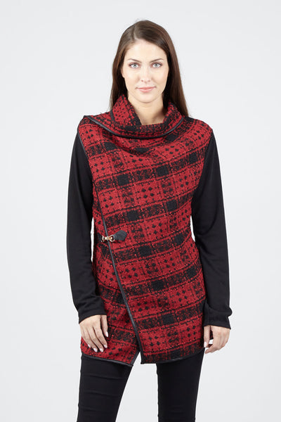 Red | Checked Wrap Front Jacket