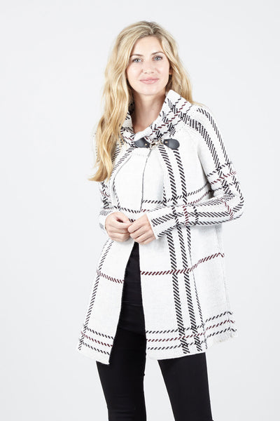 Checked Roll Neck Cardigan - Izabel London