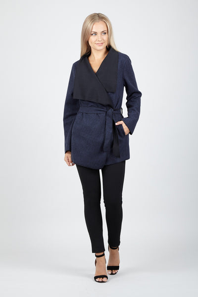 Wrap Front Duster Jacket - Izabel London