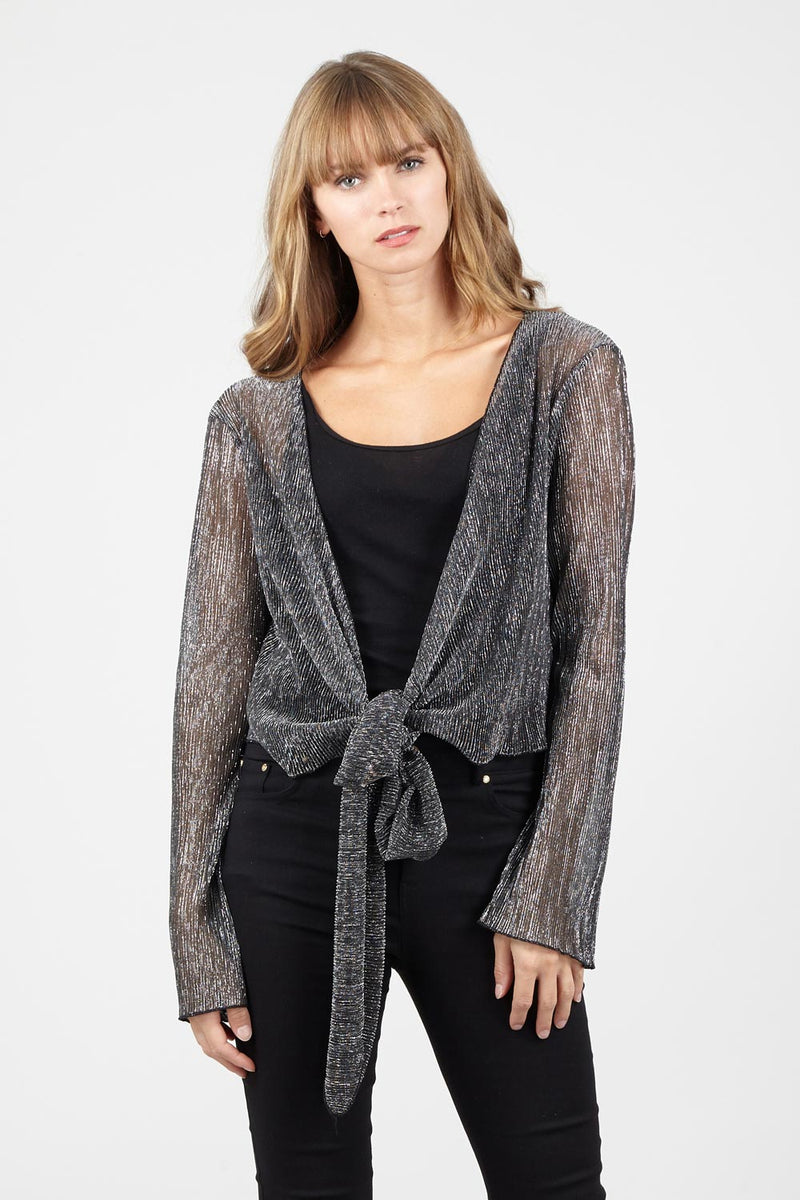 Black | Tie Front Sparkly Cover Up