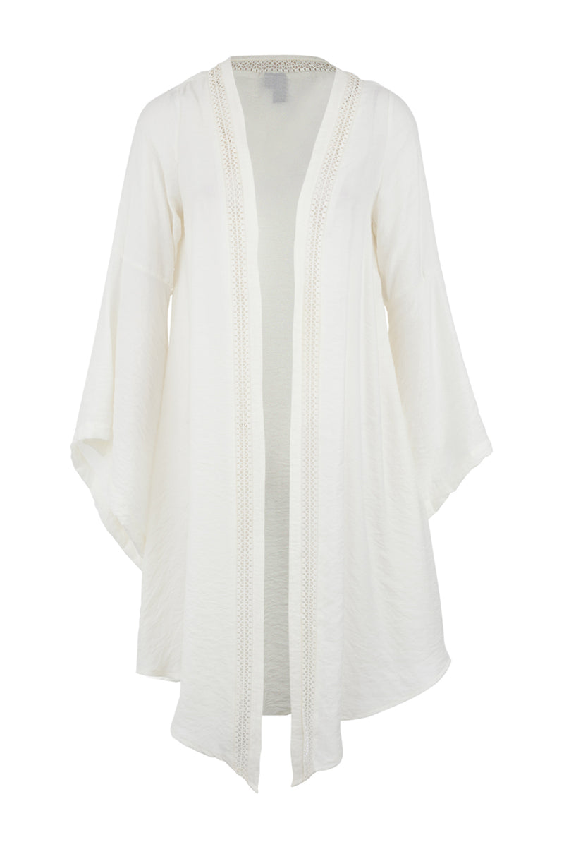 Beige | Cut-Out Trim Longline Cardigan