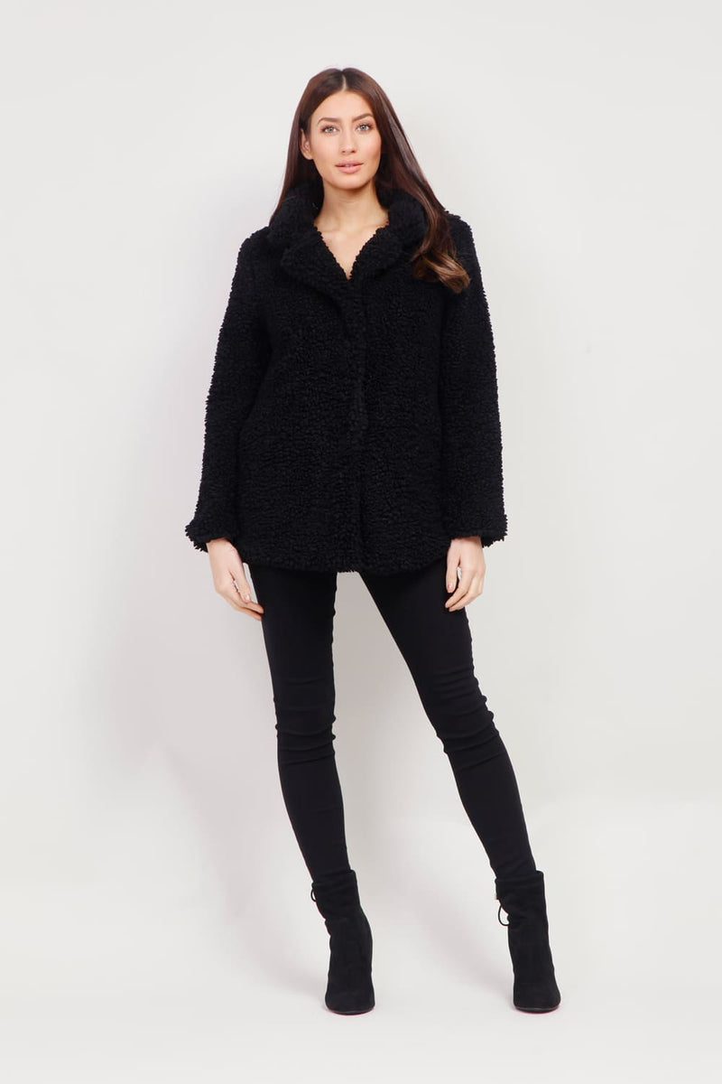 Black | Faux Fur Teddy Coat