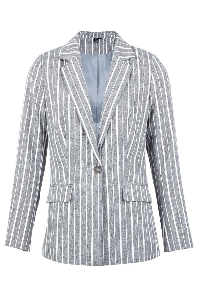 Grey | Striped Relaxed Blazer