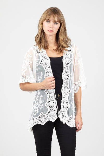 0b466b26011d Lace Cardigan With Peacock Detail - Izabel London