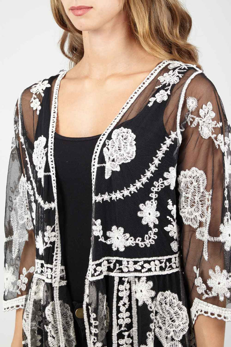 Black | Sheer Embroidered Kimono