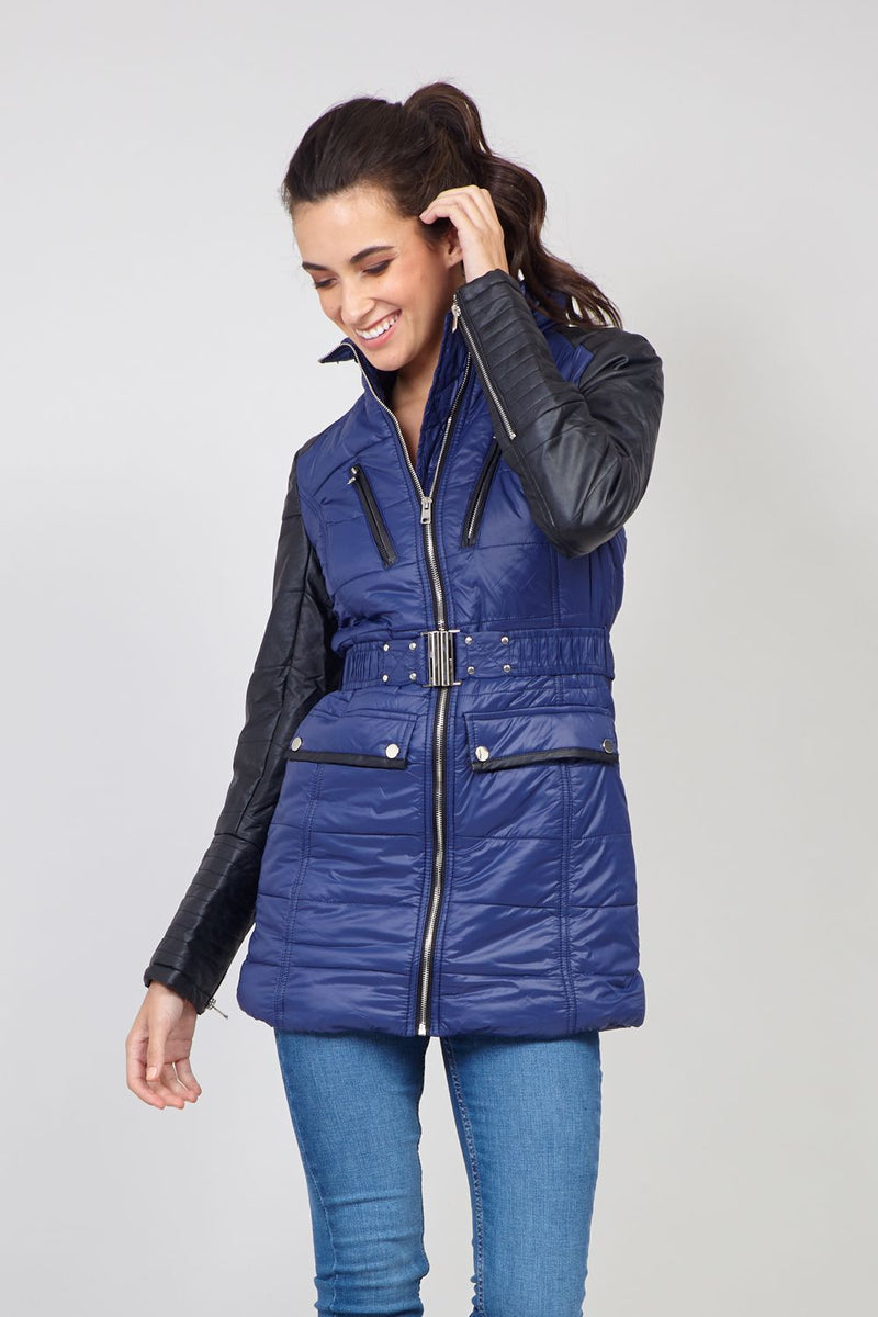 Blue | PU Padded Jacket