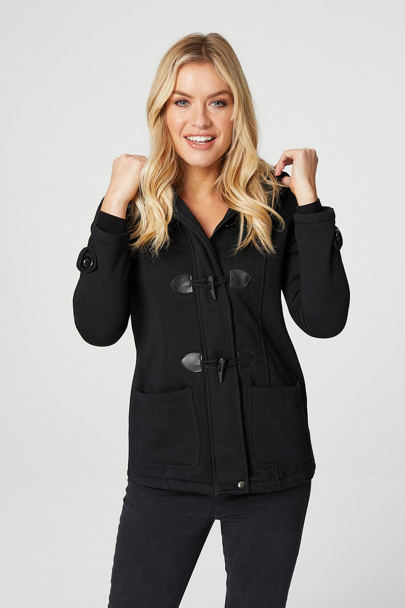 Black | Toggle Front Duffle Jacket
