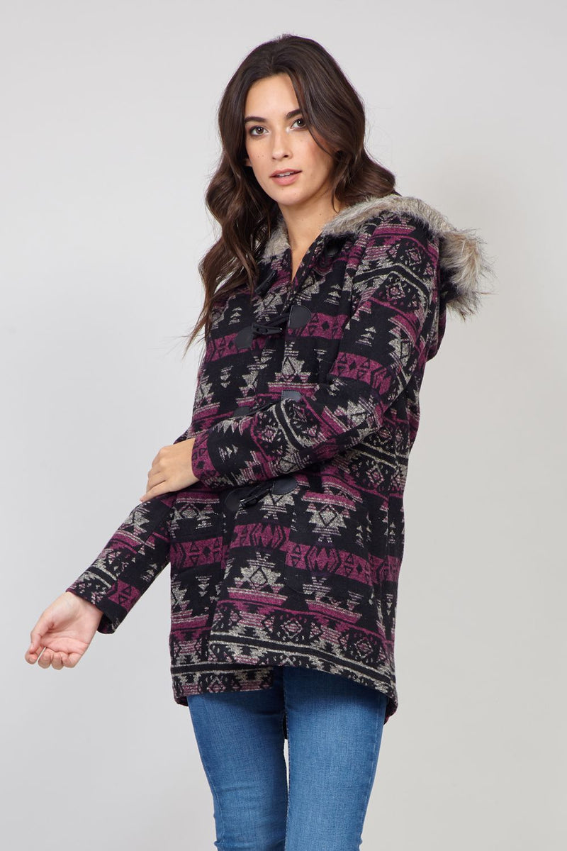 Purple | Grey | Aztec Print Duffle Jacket