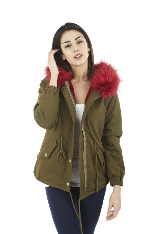 Fun Fur Trim Parka - Izabel London