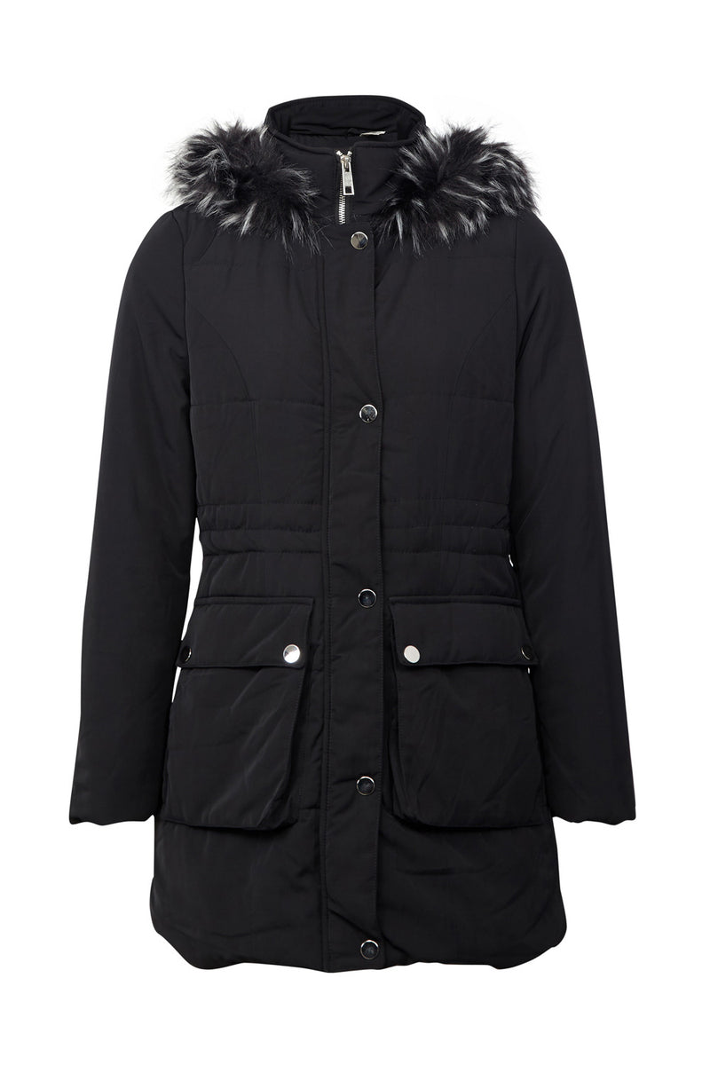 Black | Faux Fur Hood Duffle Jacket