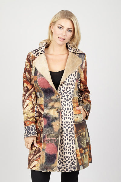 Patchwork Animal Print Coat - Izabel London