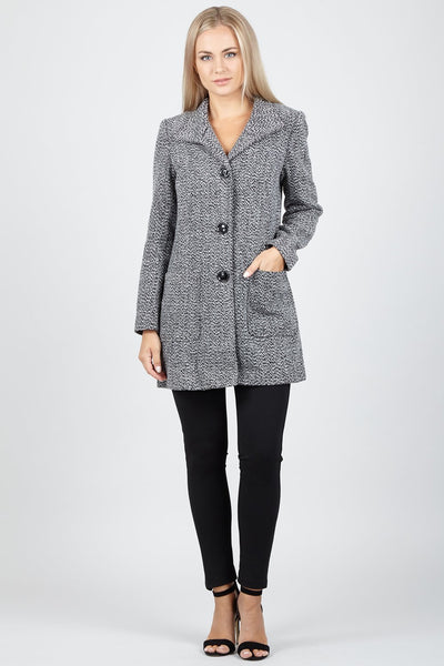 Pocket Front Tailored Coat - Izabel London