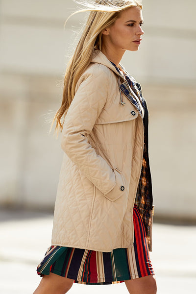 Hooded Quilted Coat - Izabel London