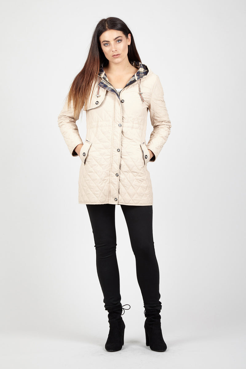 Beige | Hooded Quilted Coat
