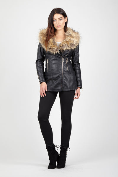 Faux Fur Trim Biker Jacket - Izabel London