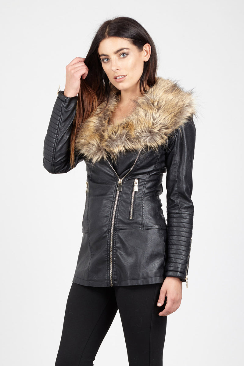 57e4cc4501e26 Faux Fur Trim Biker Jacket – Izabel London