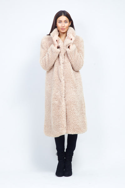 Longline Teddy Fur Coat - Izabel London