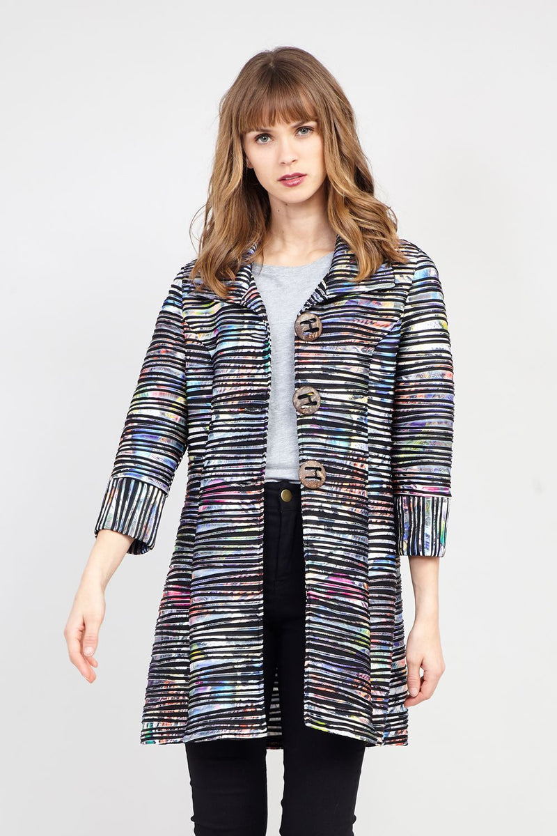 Black | Abstract Striped Coat