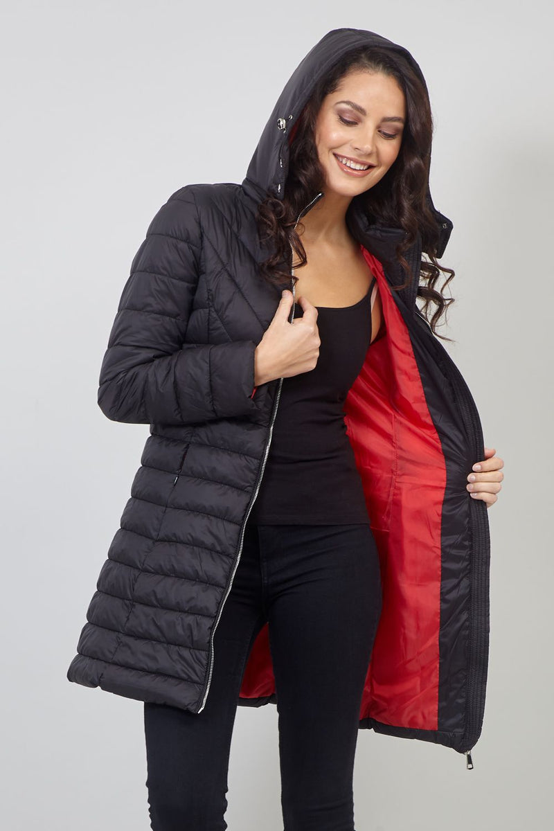 Red | Padded Hooded Coat