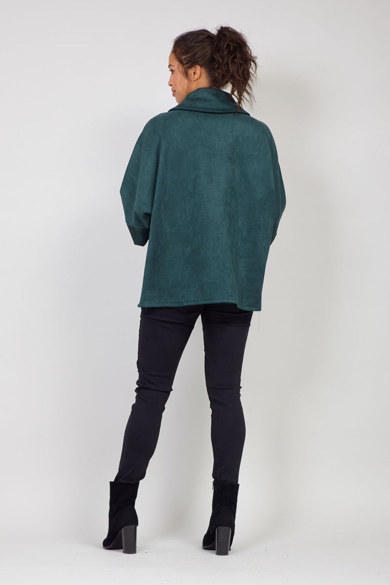 Green | Button Front Cape Coat