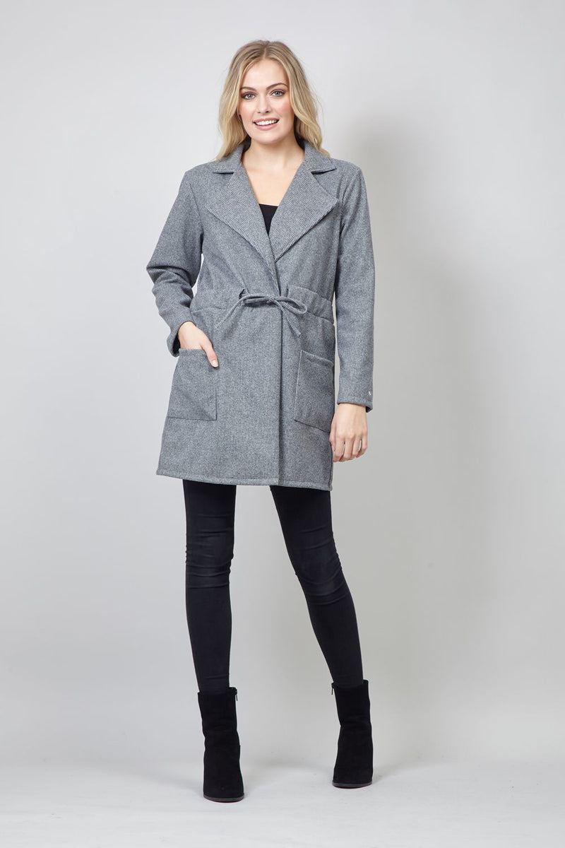 Grey | Tie Waist Boyfriend Coat